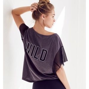 Free People Movement Wild Mesh Graphic Top Grey M